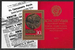 La Russie Bloc De Feuille Neufs Sans Charniére, MINT NEVER HINGED, 60e ANNIVERSAIRE DE LA REVOLUTION D'OCTOBRE - 1923-1991 URSS