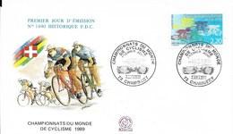 Env Fdc 3/6/89 Chambéry, N°2590, Championnat Du Monde De Cyclisme - 1980-1989