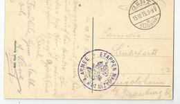 Belgique Gant  Gent 1915 Cachet étapen Der Armée Marcophilie - WW I