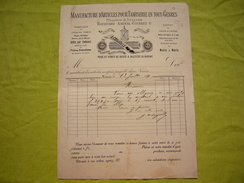 Facture Illustrée 1889 Manufacture D'articles Pour Tamiserie En Tous Genres Nimes A. Coujolle - Francia