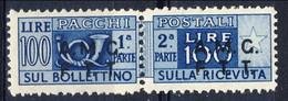 Trieste Zona A Pacchi 1947 - 48 N. 9 L. 100 Azzurro MNH Cat. € 20 - Pacchi Postali/in Concessione