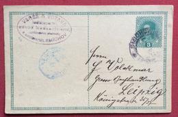 REPUBBLICA CECA CARTOLINA POSTALE  AUSTRIA 8 H. DA  SMICHOV  A LEIPZIG - LIPSIA  20/8/1917 - Repubblica Ceca
