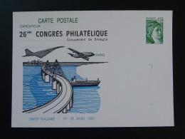 Entier Postal Carte Sabine De Gandon Avion Aircraft Concorde Pont Bridge 44 Saint Nazaire 1980 - Vliegtuigen