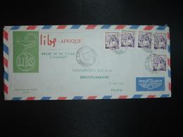 LETTRE TP 5f X5 OBL. 8? 4 1957 TUNIS RP DEPART + LIBS AFRIQUE PHARMACIE LABORATOIRE - Tunisie (1956-...)