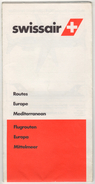 SWISSAIR ROUTES 1981 - Europe