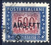 Trieste Zona A Tasse 1945 - 54 N. 28 L. 500 Azzurro E Lilla Usato Cat. € 140 - 7. Triest