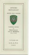 BRITISH ARMY  MENU MILITAIRE MILITARIA - Menus
