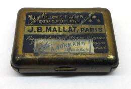 Boîte Métallique Bleue De  Plumes D'acier J.B. MAILLAT Paris  - Vendu Par A.NORMAND Passage Du Havre - Paris - Plumes