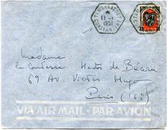 ALGERIE LETTRE PAR AVION DEPART TAMANRASSET 11-1-1951 CONSTANTINE POUR LA FRANCE - Algeria (1924-1962)