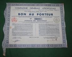 Cie GÉNÉRALE AÉROPOSTALE BON AU PORTEUR 1935 - Aviation
