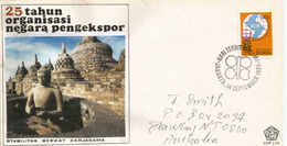 Borobudur,world's Largest Buddhist Temple,Central Java,Indonesia, FDC Letter Addressed To Malaysia - Buddhism