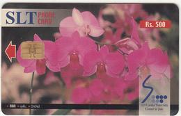 SRI LANKA(chip)- Flowers/Orchid, Sri Lanka Telecom Rs.500, Used