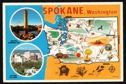 Carte Géographique De Spokane - Washington - Riverfront Park - Willow Goldfinch - ROSS HALL SCENICS - Spokane