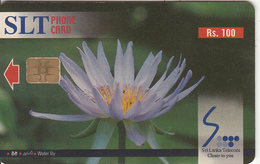 SRI LANKA(chip)- Flowers/Water Lily, Sri Lanka Telecom Rs.100, Used