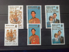 Belize 1982 Birth Of Prince William Of Wales (2nd Issue) SG/NO 714/719 MNH - Belize (1973-...)
