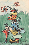 Illustrateur L. LAISNE - Fantaisie - Humour - Femme  (carte Peinte à La Main) - Otros Ilustradores