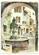 06 - ST PAUL DE VENCE - LA FONTAINE - Aquarelle Originale De Robert LEPINE - Ed. Yvon N° 15 06 1062 - Saint-Paul