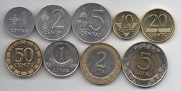 Lituanie : Série Complète De 9 Pièces UNC (ou Presque) 1991-2010 Dont 2 Pièces BIMETAL - Lituania