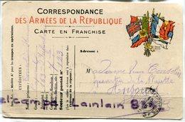 - CARTE En FRANCHISE - Correspondance Des Armées De La République, 6 Drapeaux De Couleurs, Secteur 123, 1916, BE, Scans. - Marcophilie (Lettres)