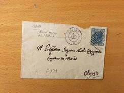 BUSTA X BIGLIETTO DA VISITA -CHIERI  X OLEGGIO-8-7-1877- CENT.20(ULTIMO MESE DI VALUDITA' - 1861-78 Victor Emmanuel II.