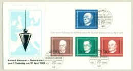 Deutschland - 1968 - Adenauer, Churchill, De Casperi And Schuman In Block On FDC - [7] West-Duitsland