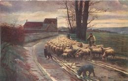 SALON DE PARIS   E.  SAMSON  LE RETOUR DU TROUPEAU   LUXOCHROMIE - Peintures & Tableaux