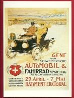 PRt-04 SAlon International De Genève, Reproduction Affiche De Vieollier, En 1905. Non Circulé, Grand Format, Papier Fin - Taxi & Carrozzelle