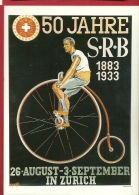 PRt-06 Reproduction Affiche De Emil Huber 1933, 50 Aans De La SRB à Zürich. Non Circulé, Grand Format, Papier Fin - Cyclisme