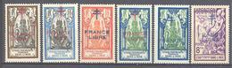 "Inde: Yvert 178/183* + 182a*; ""France Libre""; 6 Valeurs - India (1892-1954)"