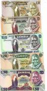 ZAMBIA 2 5 10 20 50 KWACHA ND (1986-1988) P-24 25 26 27 28 UNC SET [ZM125 ZM126 ZM127 ZM128 ZM129] - Zambia