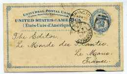 Entier Postal UNITED STATES Of AMERICA ( Etats Unis D'Amérique ) /  WASHINGTON Pour Le Mans / 1897 / Cad Paris Etranger - 1847-99 General Issues