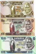 ZAMBIA 2 5 10 KWACHA ND (1986-1988) P-24 25 26 UNC SET [ZM125 ZM126 ZM127] - Sambia