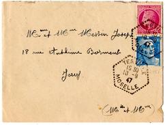TERVILLE (57) HEXAGONAL TIRETE Sur CERES ROSE 1f5 +GANDON BLEU 1f5.1947. - Marcophilie (Lettres)
