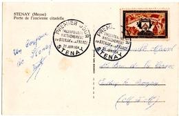 .STENAY (55) PREMIER JOUR.TRICENTENAIRE RATTACHEMENT De STENAY à La FRANCE.1954. SUR C.P. PORTE De L'ANCIENNE CITADELLE. - Timbres (représentations)