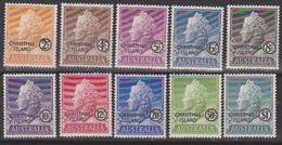 + CHRISTMAS ISL.: Mi #1-10 Yv #1-10 Queen Elizabeth II. Timbres D´Australie Avec Surch. / OVPT (1958) MNH ** Neufs SALE - Christmas Island