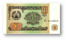 TAJIKISTAN - 1 Ruble - 1994 - Pick 1 - UNC - Serie  AB ( АБ ) - The National Bank Of The Republic - Tadjikistan