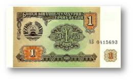TAJIKISTAN - 1 Ruble - 1994 - Pick 1 - UNC - Serie  AB ( АБ ) - The National Bank Of The Republic - Tadschikistan