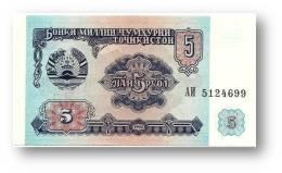 TAJIKISTAN - 5 Rubles - 1994 - Pick 2 - UNC - Serie  AI ( АИ ) - The National Bank Of The Republic - Tagikistan