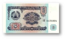 TAJIKISTAN - 5 Rubles - 1994 - Pick 2 - UNC - Serie  AI ( АИ ) - The National Bank Of The Republic - Tayikistán