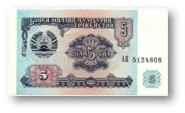 TAJIKISTAN - 5 Rubles - 1994 - Pick 2 - UNC - Serie  AI ( АИ ) - The National Bank Of The Republic - Tadzjikistan