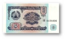 TAJIKISTAN - 5 Rubles - 1994 - Pick 2 - UNC - Serie  AI ( АИ ) - The National Bank Of The Republic - Tajikistan
