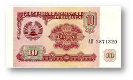 TAJIKISTAN - 10 Rubles - 1994 - Pick 3 - UNC - Serie  AK ( AK ) - The National Bank Of The Republic - Tadjikistan