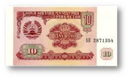 TAJIKISTAN - 10 Rubles - 1994 - Pick 3 - UNC - Serie  AK ( AK ) - The National Bank Of The Republic - Tagikistan