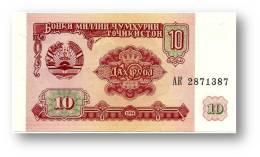 TAJIKISTAN - 10 Rubles - 1994 - Pick 3 - UNC - Serie  AK ( AK ) - The National Bank Of The Republic - Tayikistán