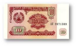TAJIKISTAN - 10 Rubles - 1994 - Pick 3 - UNC - Serie  AK ( AK ) - The National Bank Of The Republic - Tadzjikistan