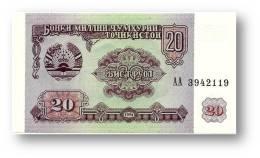 TAJIKISTAN - 20 Rubles - 1994 - Pick 4 - UNC - Serie  AA ( AA ) - The National Bank Of The Republic - Tajikistan