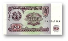 TAJIKISTAN - 20 Rubles - 1994 - Pick 4 - UNC - Serie  AA ( AA ) - The National Bank Of The Republic - Tadschikistan