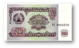 TAJIKISTAN - 20 Rubles - 1994 - Pick 4 - UNC - Serie  AA ( AA ) - The National Bank Of The Republic - Tagikistan