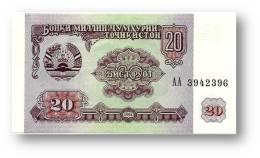 TAJIKISTAN - 20 Rubles - 1994 - Pick 4 - UNC - Serie  AA ( AA ) - The National Bank Of The Republic - Tadzjikistan