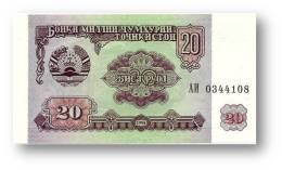 TAJIKISTAN - 20 Rubles - 1994 - Pick 4 - UNC - Serie  AI ( АИ )- The National Bank Of The Republic - Tajikistan